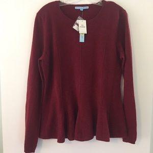 🆕 NWT Antonio Melani 100% Cashmere Peplum Sweater